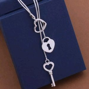 Lock and key 925 stamped necklace